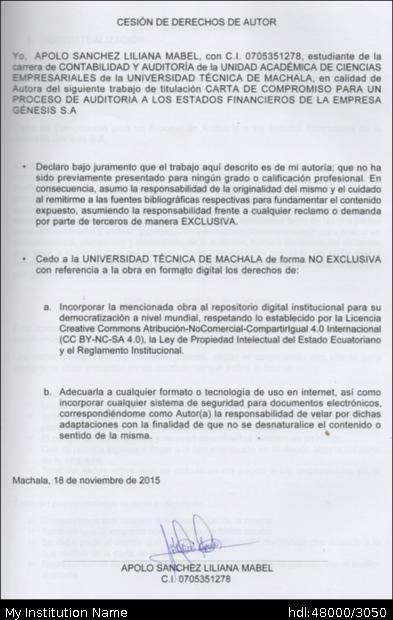 Repositorio Digital De La Utmach Carta De Compromiso Para